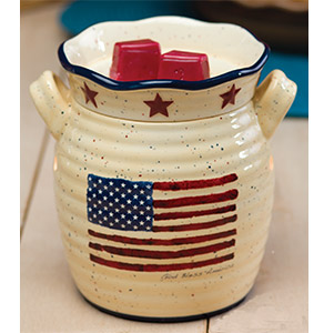 God Bless Scentsy Warmer June 2013 Beautifully Decorated Featuring The Rustic American Flag Design
